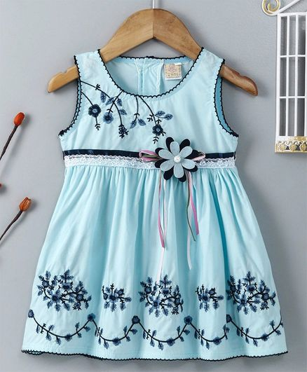 ABQ Sleeveless Party Frock Floral Embroidered - Sky Blue