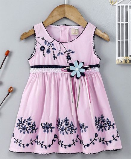 ABQ Sleeveless Party Frock Floral Embroidered - Light Pink