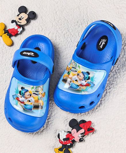 Cute Walk by Babyhug Clogs Mickey Mouse & Pluto Print - Blue