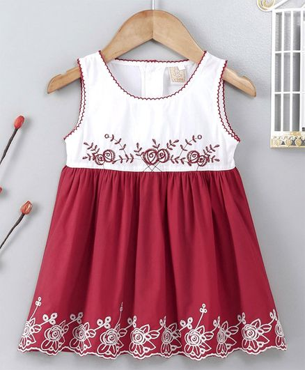ABQ Sleeveless Floral Embroidered Frock - Maroon