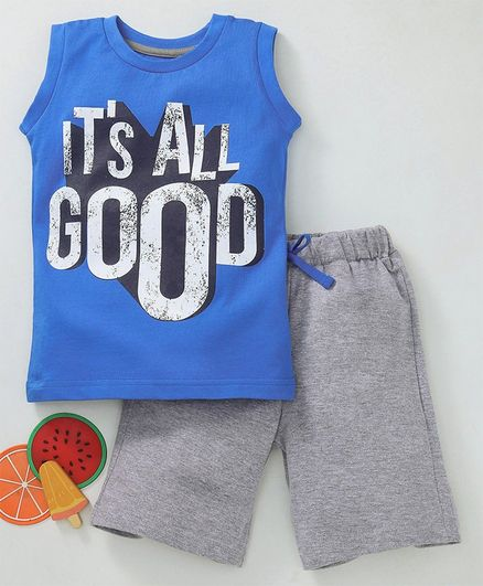 Babyhug Sleeveless Tee And Shorts Text Print - Blue Grey