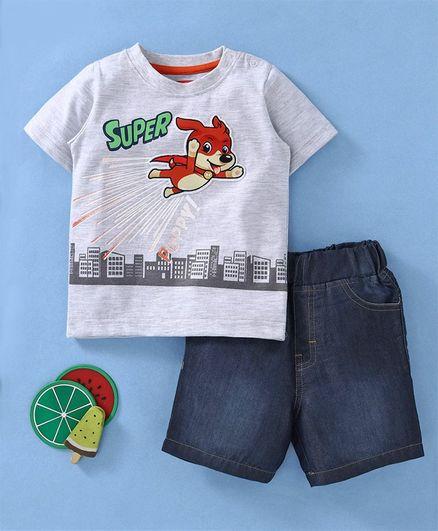 Babyhug Half Sleeves T-Shirt & Denim Shorts Supper Puppy Print - White