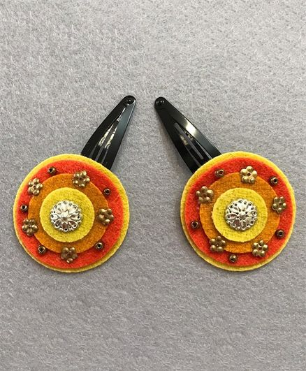 Kalacaree Set Of 2 Circular Embellished Snap Clips - Orange