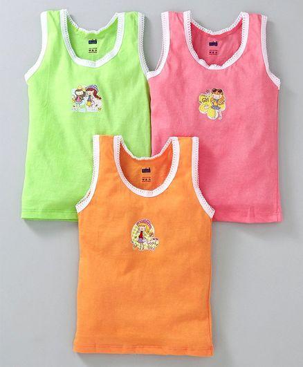 Simply Sleeveless Slips Girl Print Pack of 3 - Green Pink Brown