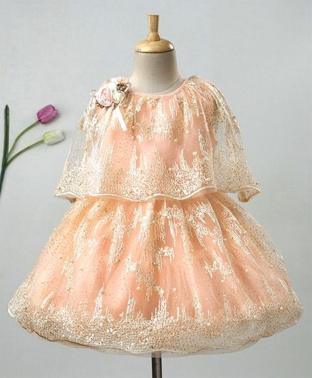 Enfance Embroidered Poncho Attached Half Sleeves Dress - Peach