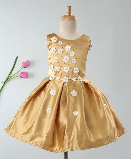 Enfance Sleeveless Flower Embellished Dress - Golden
