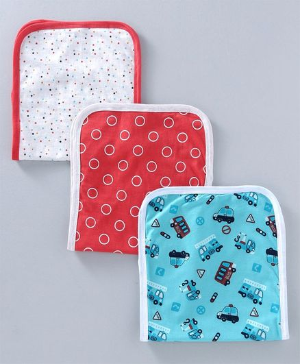 Tango Burp Cloth Multiprint Pack of 3 - Blue White & Red