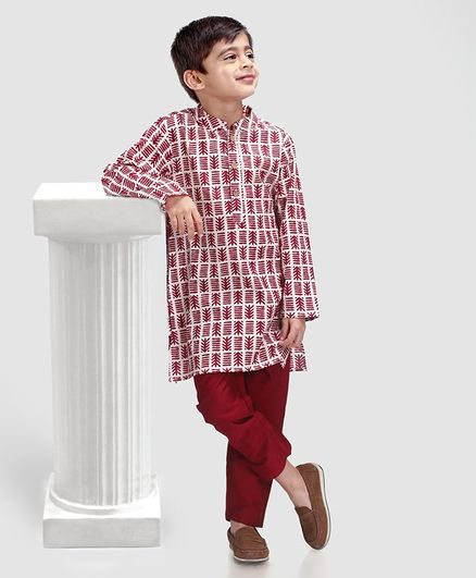 Babyhug Full Sleeves Printed Kurta Pyjama Set - Maroon