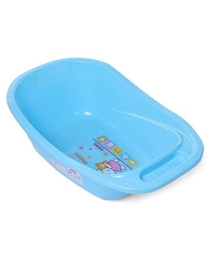 Babyhug Baby Bath Tub With Drain Plug Animal Print - Blue