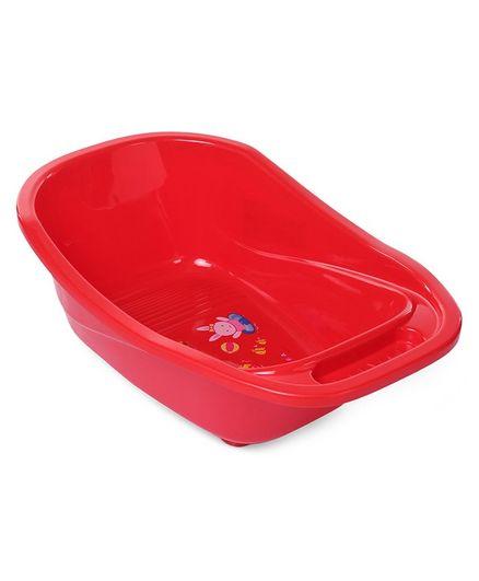 Babyhug Baby Bath Tub With Drain Plug Animal Print - Red