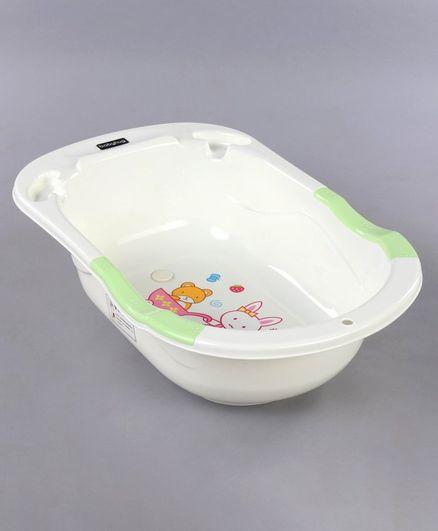 Babyhug Baby Bath Tub Bunny Print - Green & White