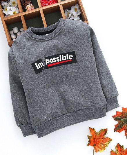 Kookie Kids Full Sleeves Sweatshirt Possible Print - Grey