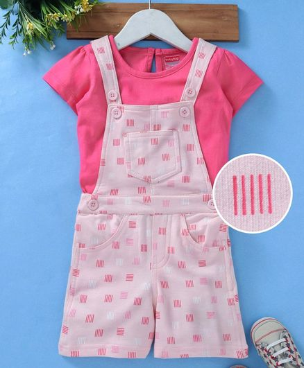 Babyhug Sleeveless Dungaree With Inner Solid Tee - Pink Peach