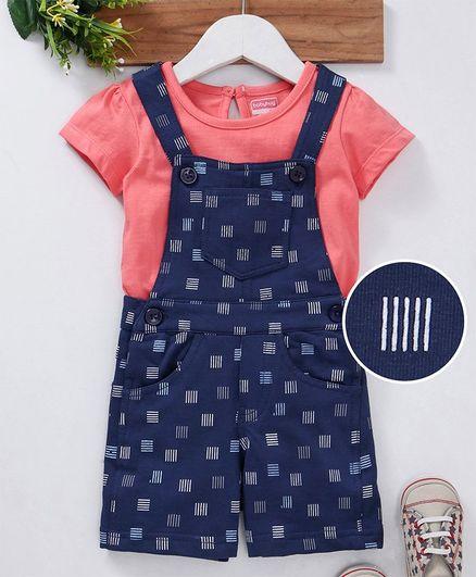 Babyhug Sleeveless Dungaree With Inner Solid Tee - Blue Peach
