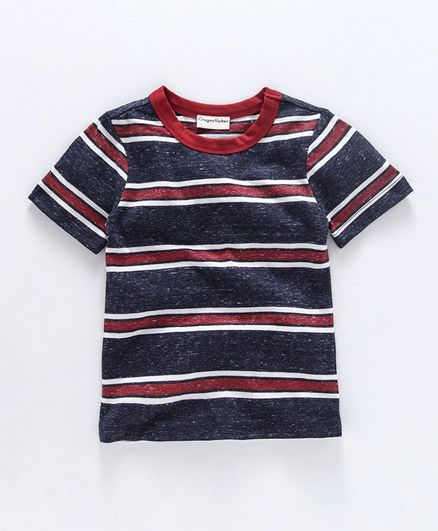 Crayonflakes Striped Half Sleeves Tee - Navy Blue