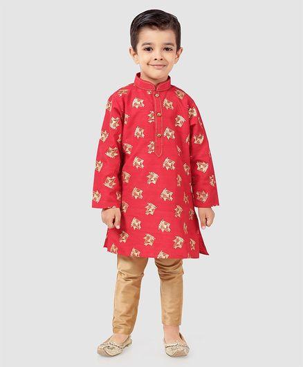 Dapper Dudes Printed Full Sleeves Kurta & Pajama Set - Red