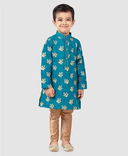 Dapper Dudes Printed Full Sleeves Kurta & Pajama Set - Blue