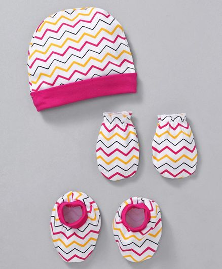 Babyhug Cotton Cap Mittens & Booties With Zig Zag Stripes - Pink