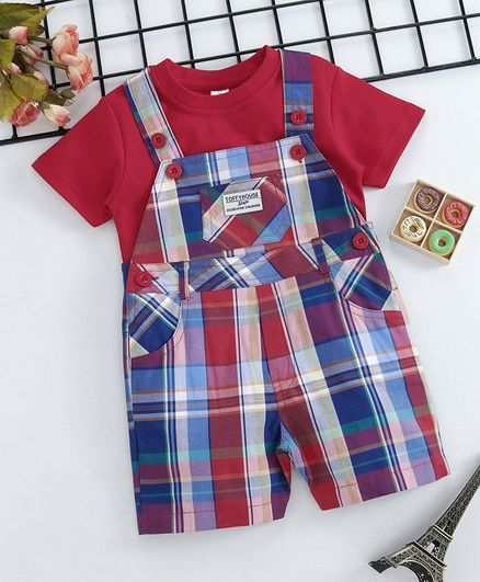 ToffyHouse Check Dungaree Style Romper With Tee - Red Blue