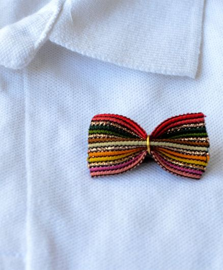 Pretty Ponytails Bow Applique Brooch - Multicolor & Gold