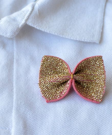 Pretty Ponytails Bow Applique Badge - Pink & Gold