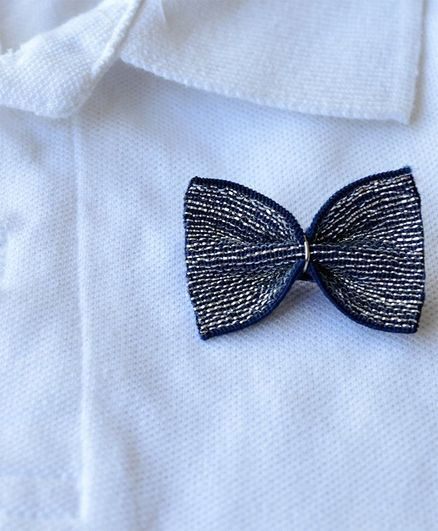 Pretty Ponytails Bow Applique Badge - Navy Blue & Silver