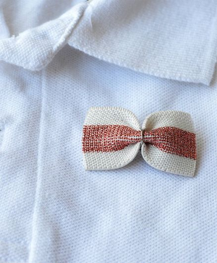 Pretty Ponytails Bow Applique Brooch - White Pink & Silver