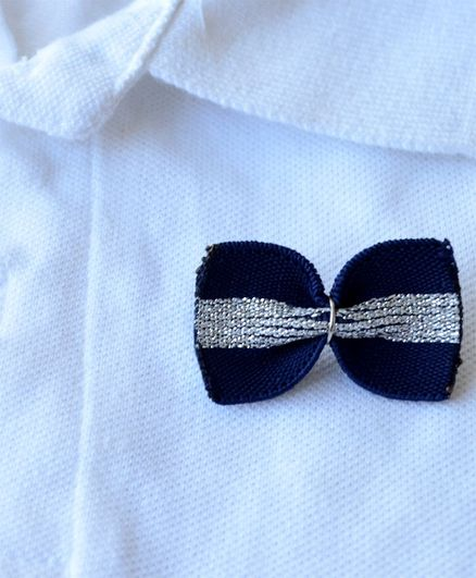 Pretty Ponytails Bow Applique Brooch - Blue & Silver