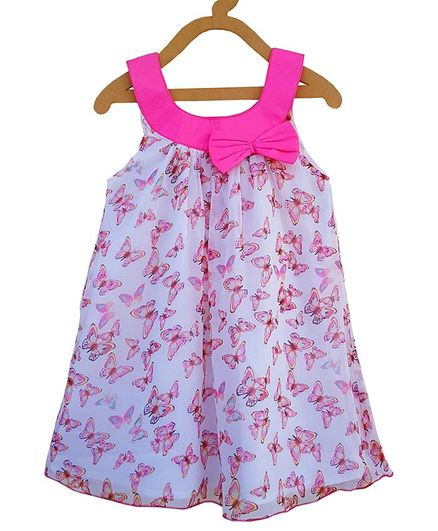 Buy Campana Sleeveless Butterfly Print A Line Dress Blue for Girls (3 ... c13a334af1a