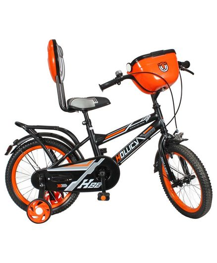 Hollicy HBB Premium Kids Bicycle With Integrated Back Carrier Black & Orange - 16 Inches