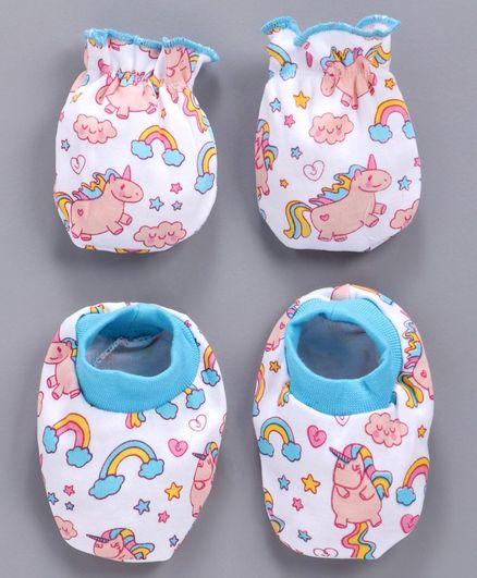 Babyhug Cotton Mittens And Booties Unicorn Print - White Blue