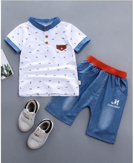 Pre Order - Awabox M Print Half Sleeves Tee & Shorts Set - White