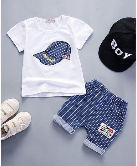 Pre Order - Awabox Short Sleeves Cap Print T-Shirt & Bottom Set - Navy Blue