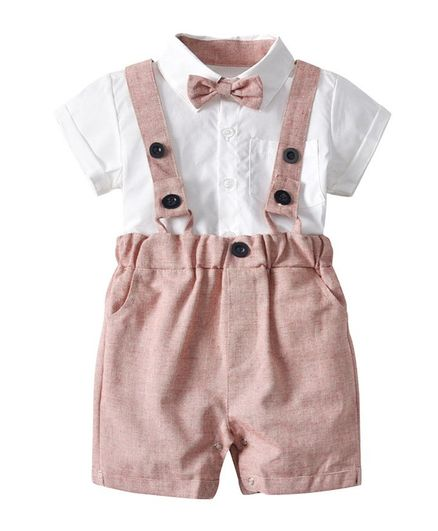Pre Order - Awabox Solid Half Sleeves Shirt & Suspender Shorts Set With Bow - Pink