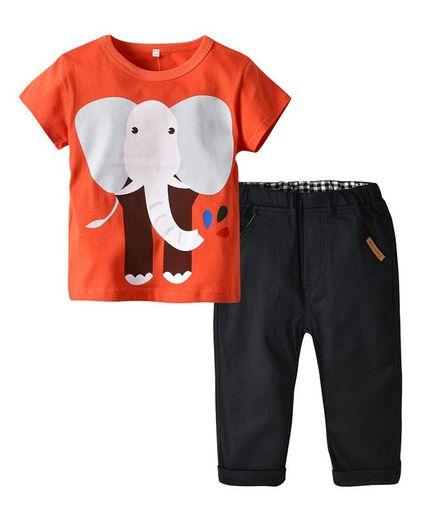 Pre Order - Awabox Short Sleeves Elephant Print T-Shirt & Bottom Set - Orange