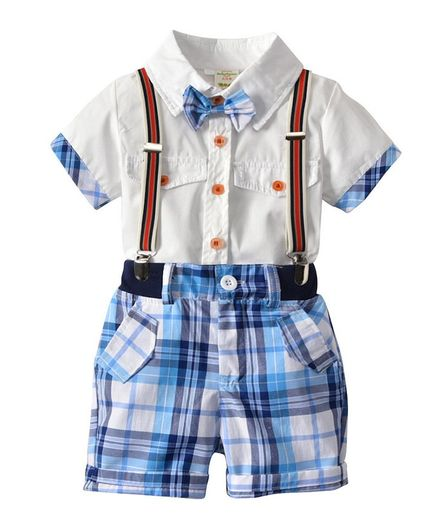 Awabox Half Sleeves Bow Applique Shirt With Checked Suspender Bottom Set - White & Blue
