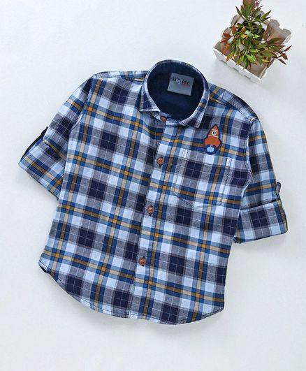 Dapper Dudes Checks Full Sleeves Shirt - Blue