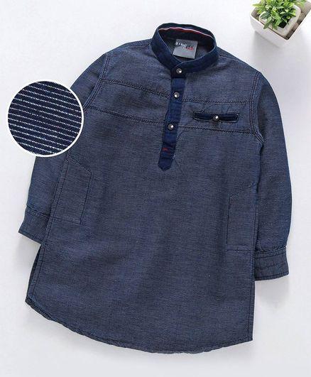 Dapper Dudes Stripe Full Sleeves Shirt - Dark Blue