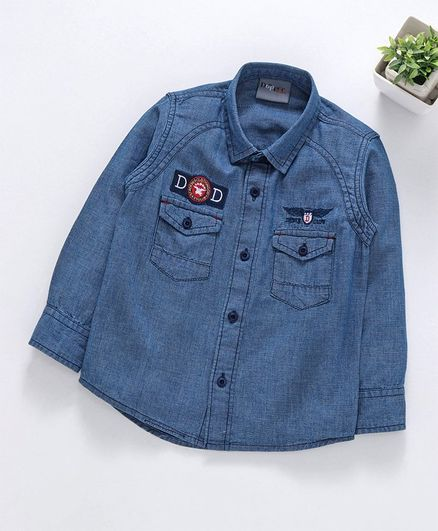 Dapper Dudes Embroidered & Patch Detailed Full Sleeves Shirt - Blue