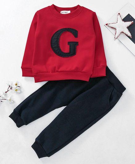 Kookie Kids Full Sleeves Tee & Lounge Pant Alphabet Patch - Red & Black