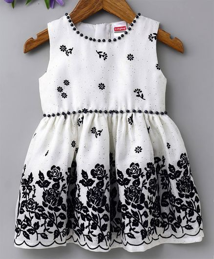 Babyhug Sleeveless Party Wear Frock with Bloomer - White And Navy Blue