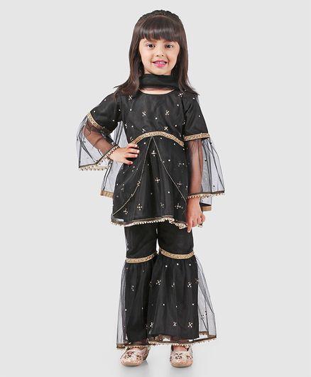 Ridokidz Full Sleeves Beads Embellished Kurta With Dupatta & Sharara Set - Black