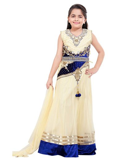 Betty By Tiny Kingdom Sleeveless Stones Embellished Lehenga & Choli Set With Dupatta - Blue