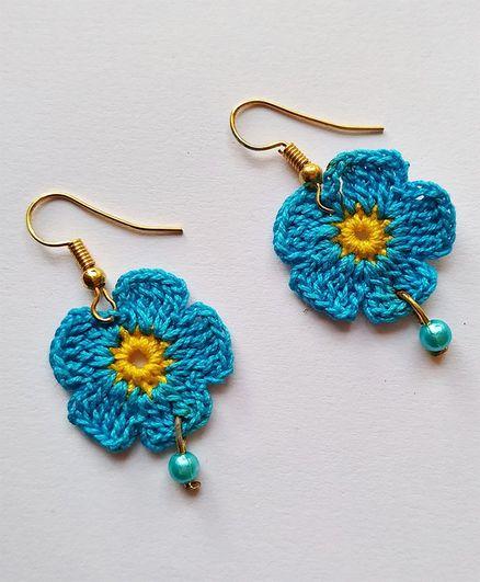 Milonee Flower Design Earrings - Blue