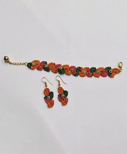 Milonee Handcrafted Bracelet With Earrings Set - Orange & Green