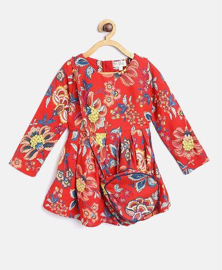 497fa738bae7 Buy Bella Moda Full Sleeves Flower Print Dress With Sling Bag Red ...