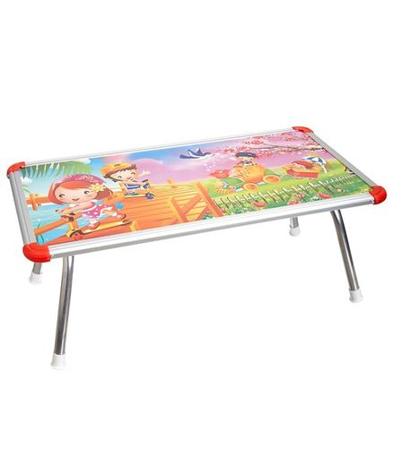NHR Kids Multipurpose Bed Table with Foldable Legs Scooty Print - Multicolor