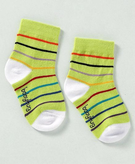 Cute Walk by Babyhug Non Terry Antibacterial Ankle Length Socks Stripes Design - Lime Green White