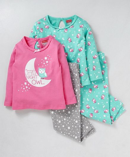 Babyhug Full Sleeves Cotton Night Suit Combo - Multicolor
