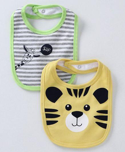 Babyoye Cotton Bibs Tiger Print Pack of 2 - Green Yellow